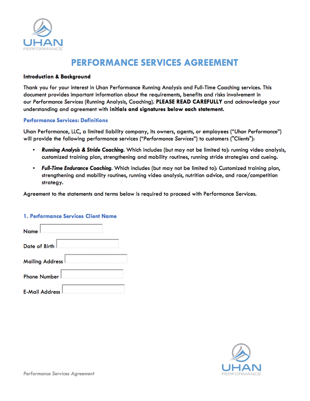 Performance Services Agreement